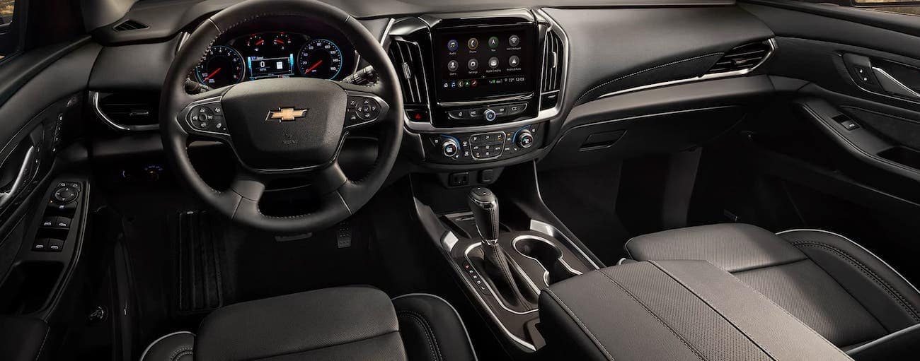 The interior of a 2020 Chevy Traverse is shown.