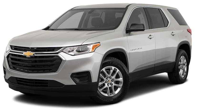 A silver 2020 Chevy Traverse is angled left on a white background.