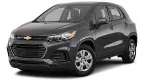 A black 2020 Chevy Trax is angled left on a white background.