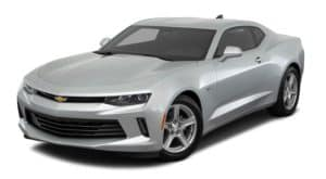 A silver 2018 used Chevrolet Camaro is facing left.