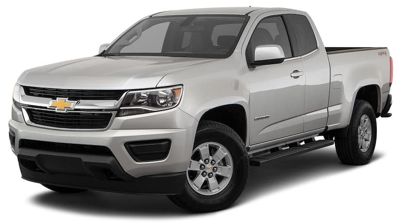 A silver 2019 used Chevrolet Colorado is angled left on a white background.
