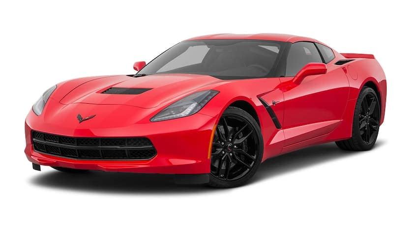 A red 2019 used Chevrolet Corvette is facing left.