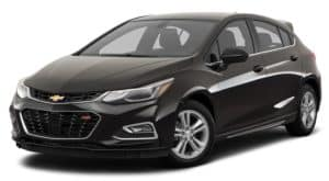 A black 2017 used Chevrolet Cruze Hatchback RS is angled left on a white background.
