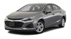 A grey 2019 used Chevrolet Cruze is facing left.