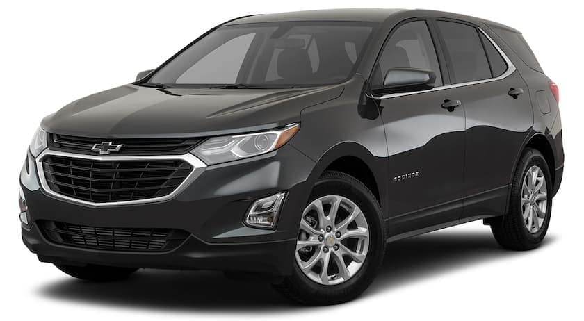 A black 2019 used Chevrolet Equinox is angled left on a white background.