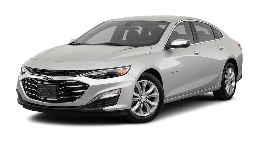 A silver 2019 used Chevrolet Malibu is facing left.