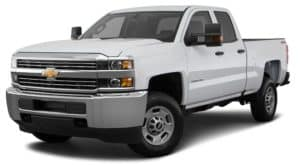 A white 2019 Chevrolet Silverado 2500HD is angled left on a white background.