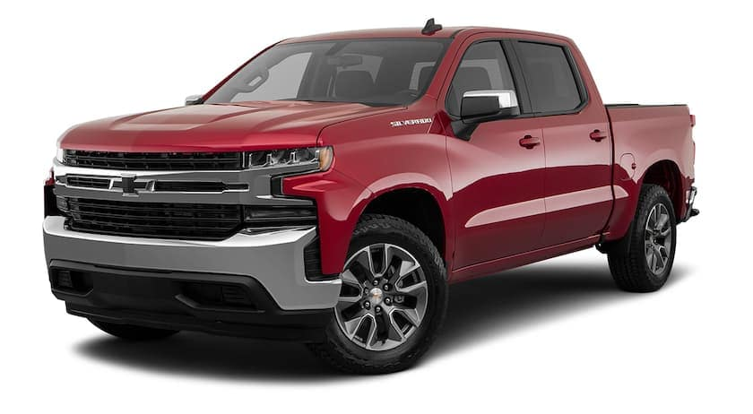 A red 2019 Used Chevrolet Silverado is facing left.
