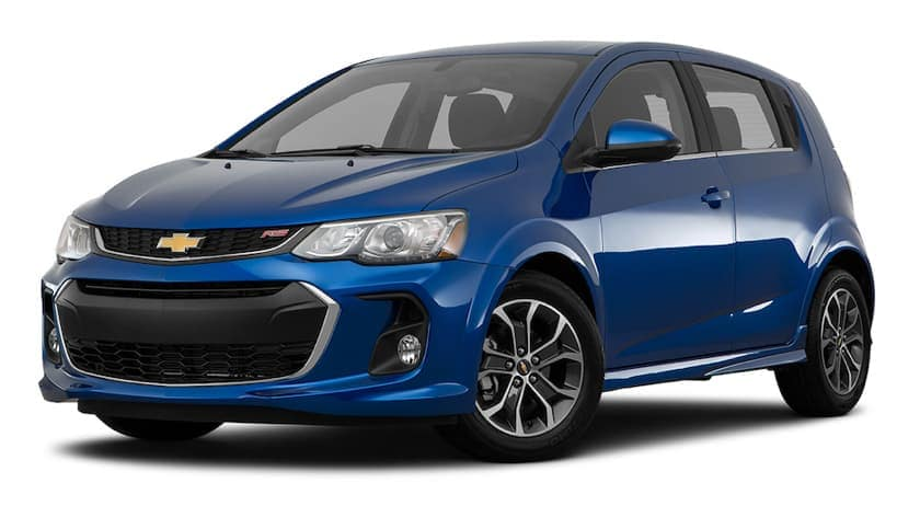 A blue 2018 used Chevrolet Sonic Hatchback RS is angled left on a white background.