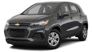 A black 2019 used Chevrolet Trax is angled left on a white background.