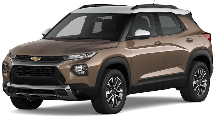 A brown and white 2021 Chevy Trailblazer is angled left on a white background.