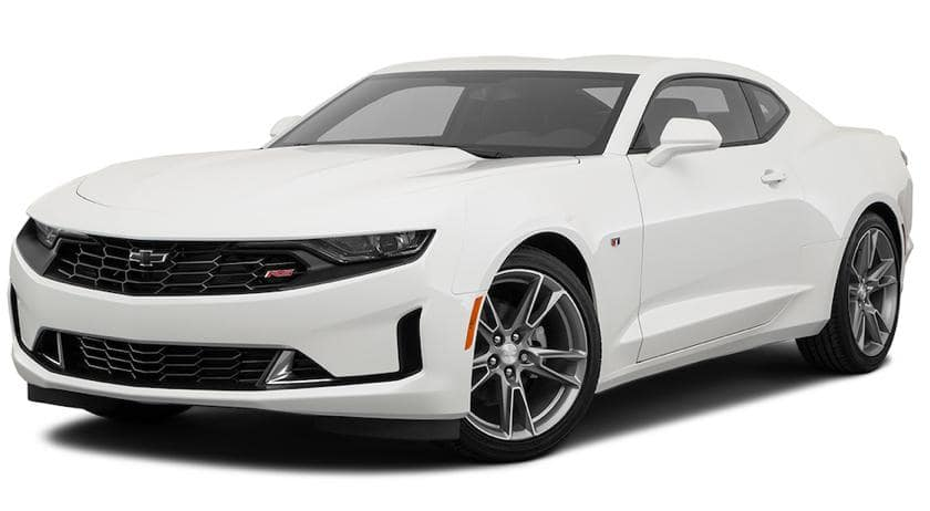 A white 2020 Chevy Camaro is angled left.