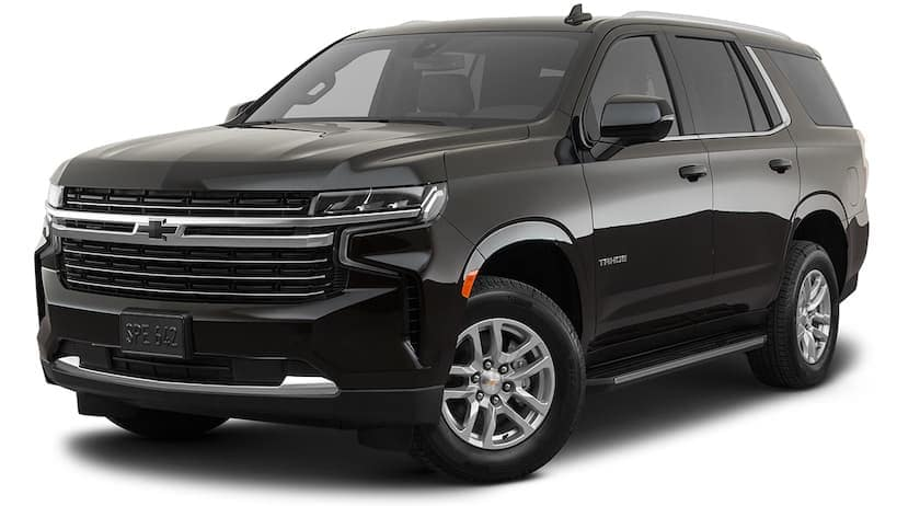 A black 2021 Chevy Tahoe is angled left.