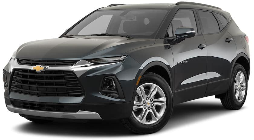 A black 2021 Chevy Blazer LT is angled left.