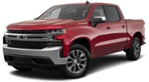 A red 2021 Chevy Silverado 1500 LT with black badging is angled left.