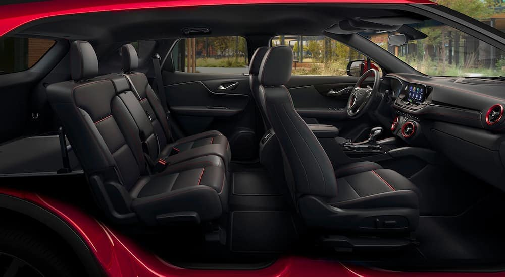The red and black interior is shown on a 2021 Chevy Blazer RS.