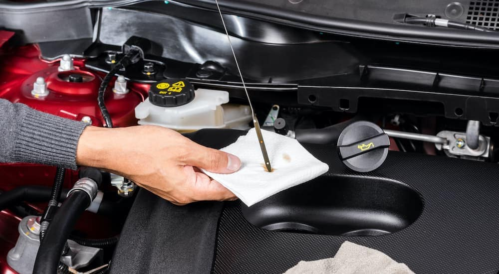 A mechanic is checking the oil after an oil change near you.