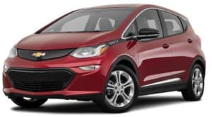 A dark red 2021 Chevy Bolt EV LT is angled left.
