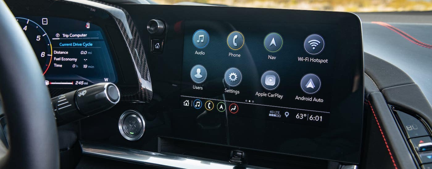 A closeup shows the infotainment screen in a 2021 Chevy Corvette.