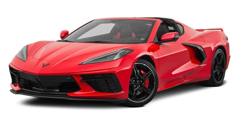 A red 2021 Chevy Corvette Stingray 3LT is angled left.