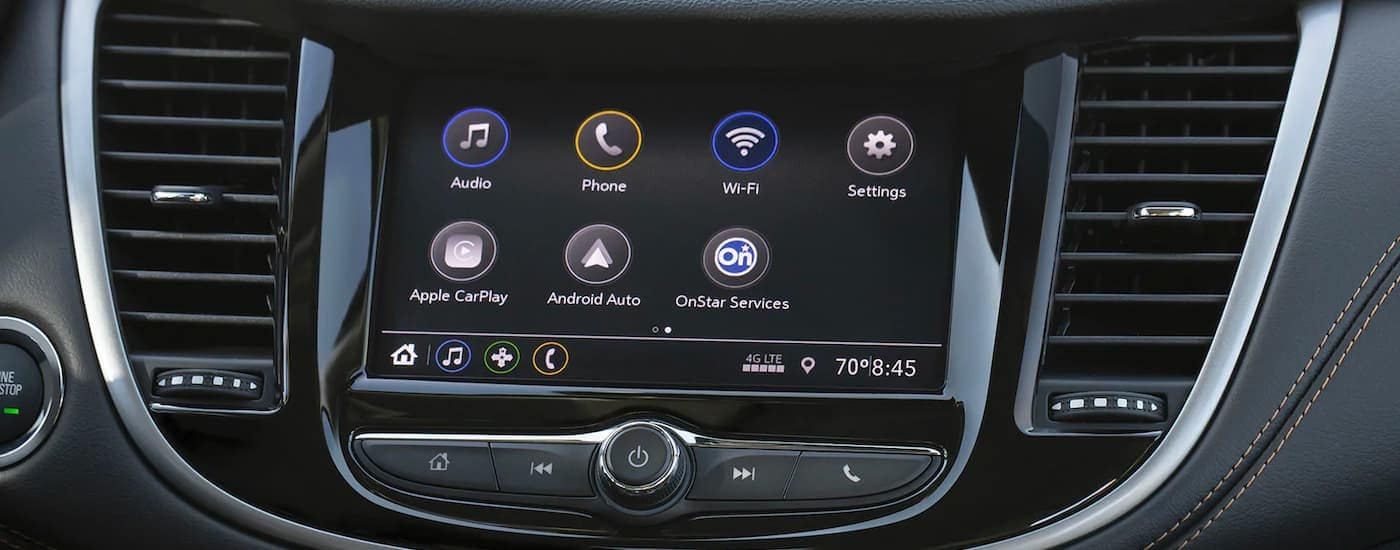 A close up shows the applications on the infotainment screen in a 2021 Chevy Trax.