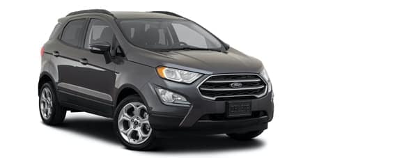 A dark gray 2021 Ford EcoSport is angled right.