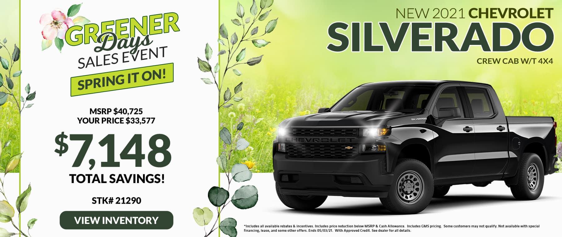 New 2021 Chevrolet Silverado Crew Cab W/T 4X4