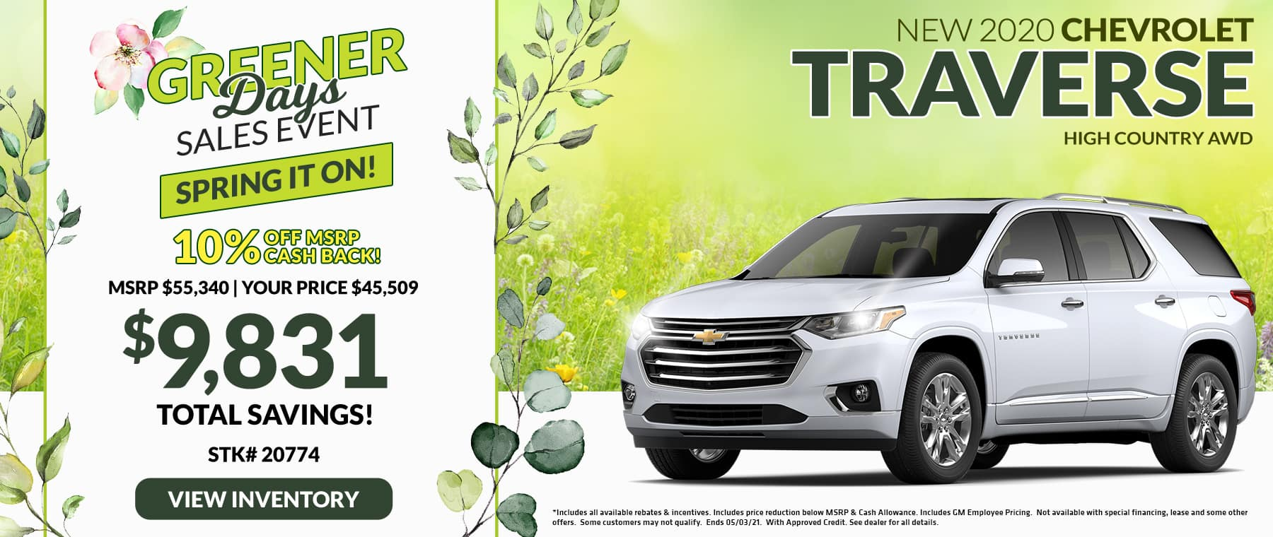 New 2020 Chevrolet Traverse High Country AWD