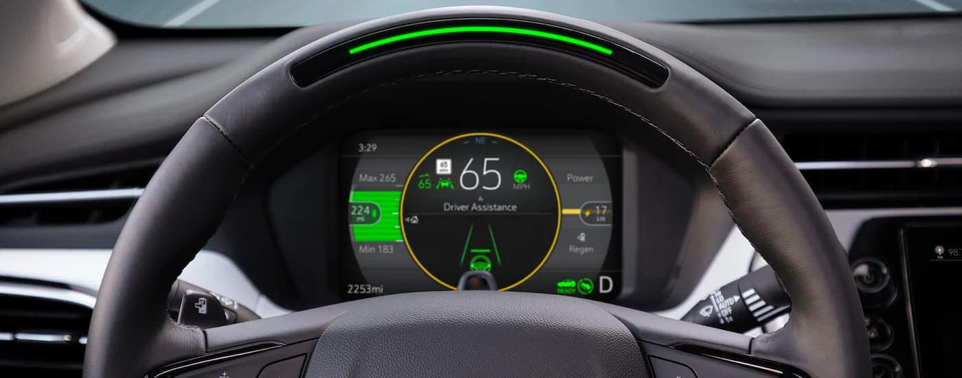 A close up shows the gauge cluster and driver assist features in a 2022 Chevy Bolt EUV.