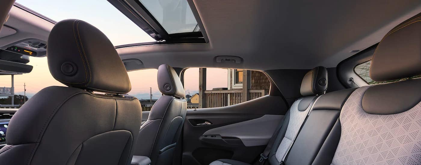 The black interior is shown form the drivers side in a 2022 Chevy Bolt EUV.