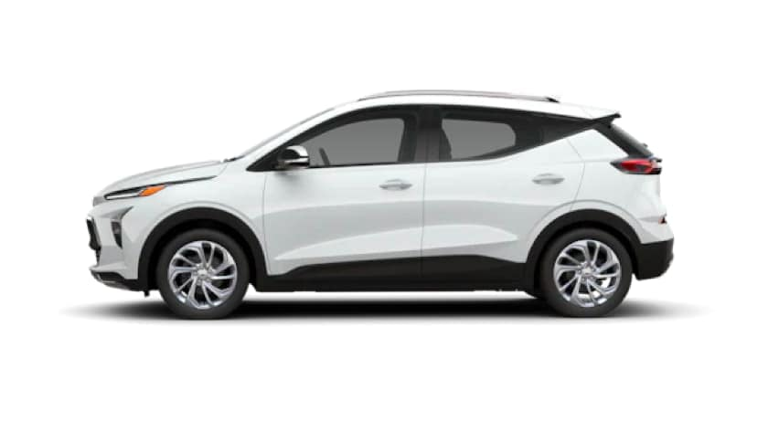 A white 2022 Chevy Bolt EUV is angled left.