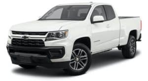 A white 2021 Chevy Colorado WT is angled left.