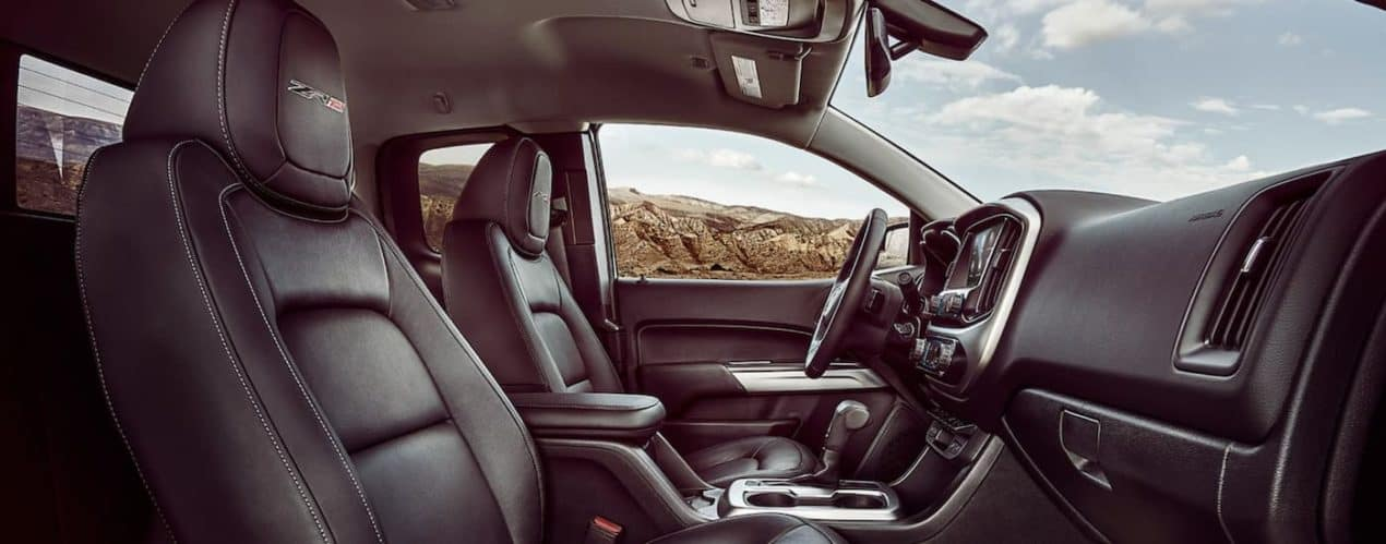 The black interior is shown from the passanger side in a 2021 Chevy Colorado ZR2.
