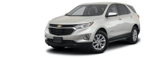 A white 2021 Chevy Equinox LT is angled left.