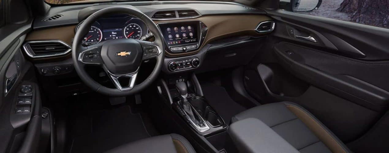 The black and brown interior is shown in a 2021 Chevy Trailblazer.