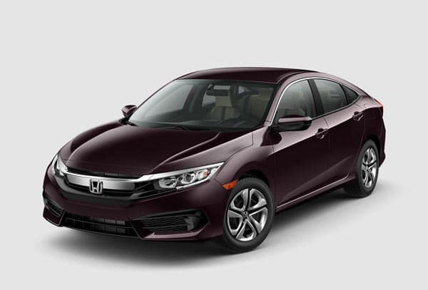 Burgundy 2018 Honda Civic Sedan at an angle