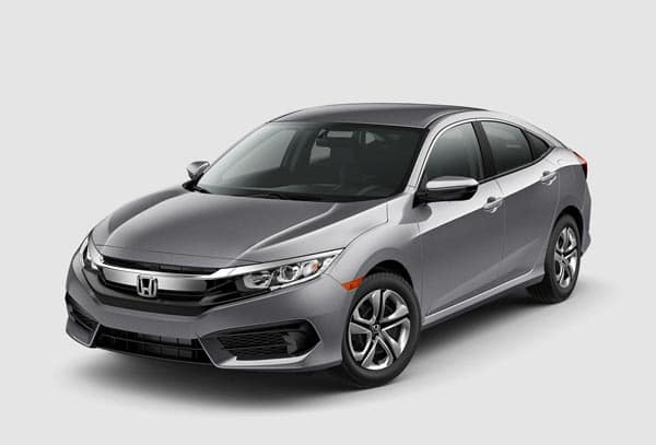 Silver 2018 Honda Civic Sedan at an angle