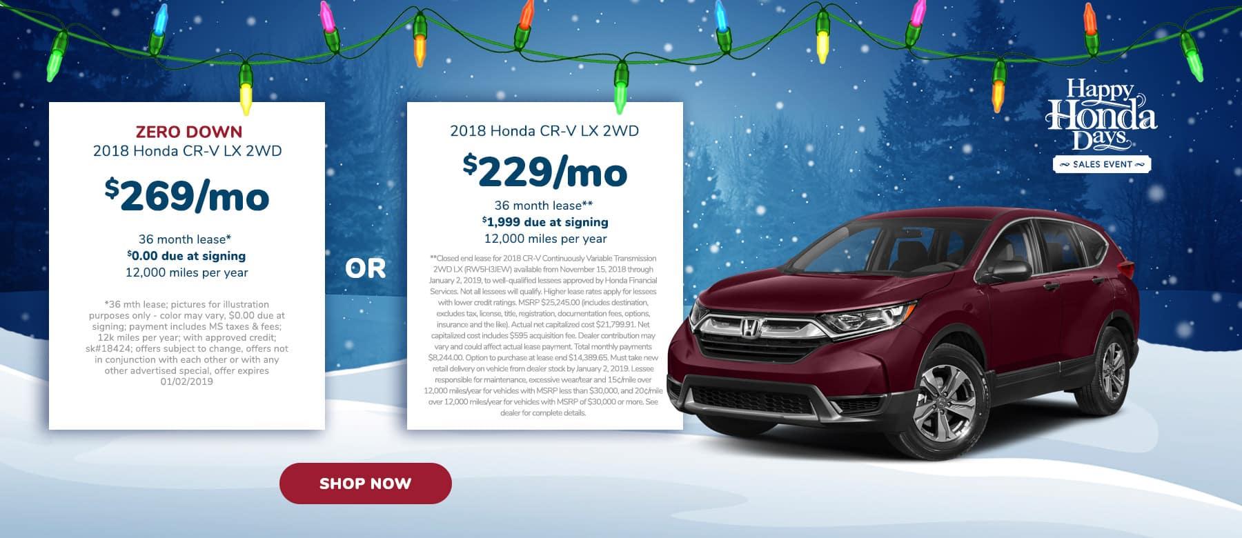 CR-V Lease offer near Jackson MS