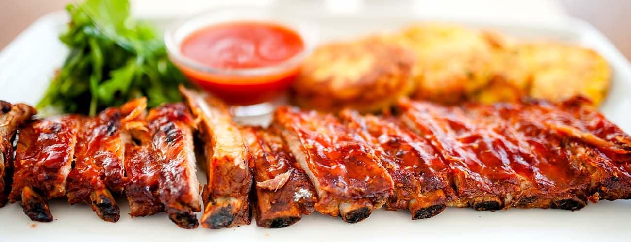 main dish - pork ribs and barbeque sauce