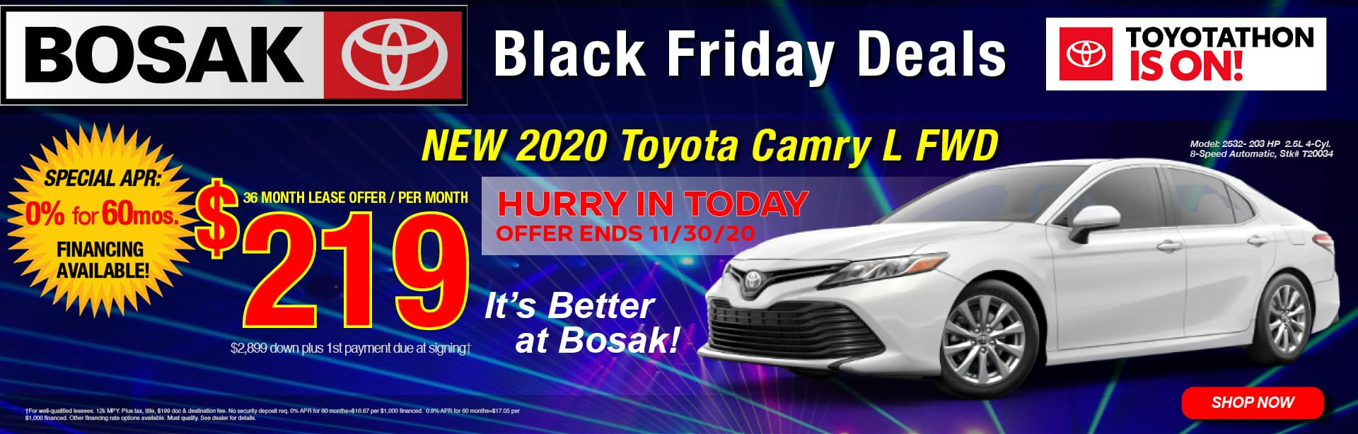 Black Friday Special - lease a 2020 Camry for $219 per month