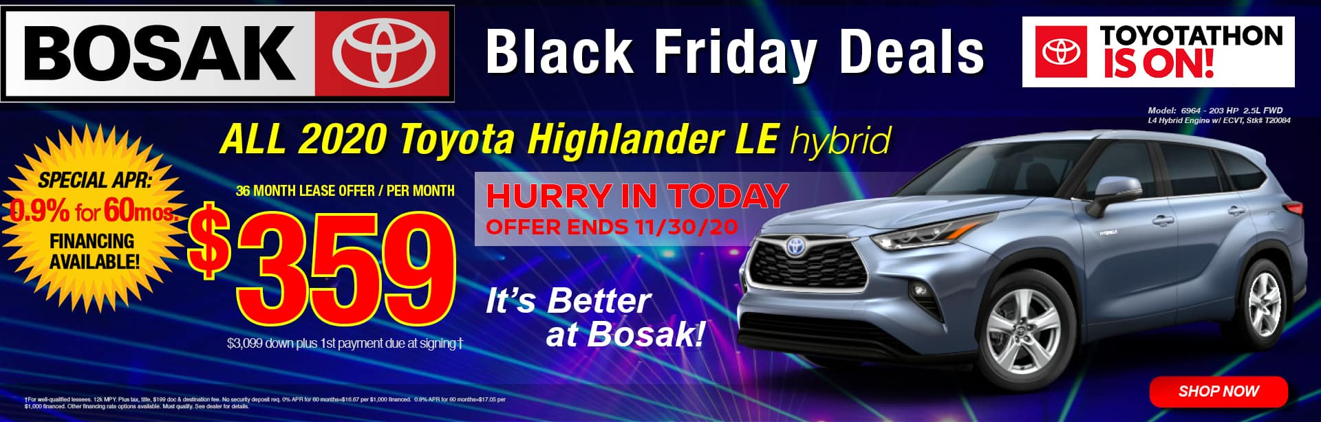 Black Friday Deals - Lease a 2020 Toyota Highlander for $359 per month