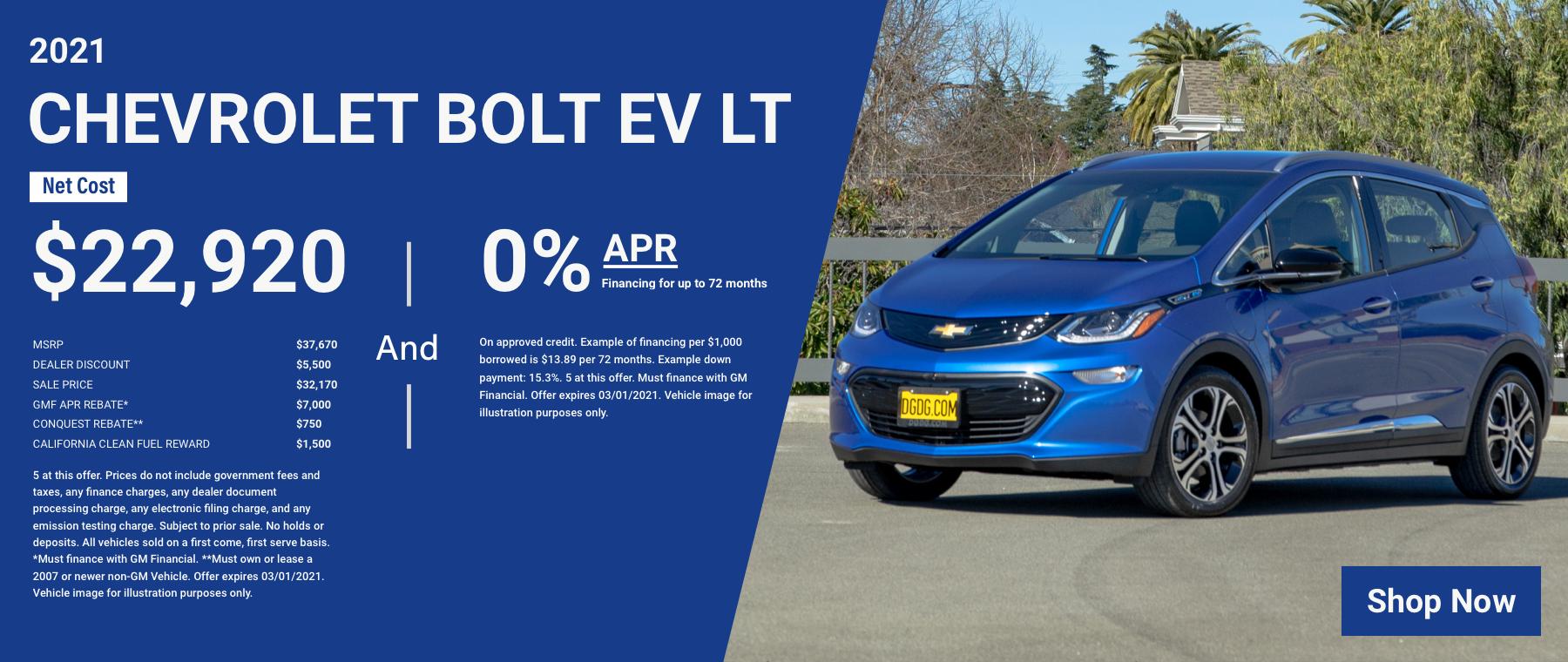 N APR – 2021 Chevrolet Bolt EV LT – $22,920 0 for 72 Revised 4