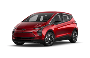 2022 Chevy Bolt EV 2LT in the color Cherry Red Tintcoat.