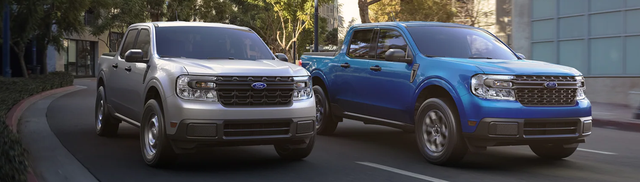 2022 Ford Maverick XL and XLT driving on a city street