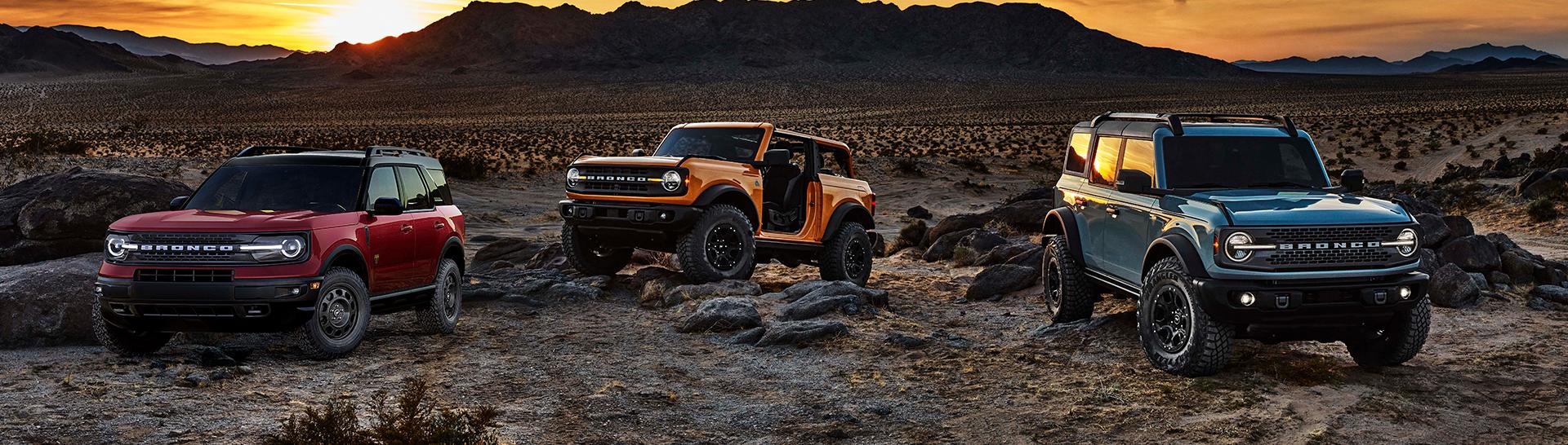 2021 Bronco Family on rocky terrain.