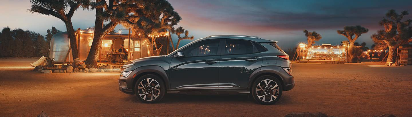 2022 Hyundai Kona in front of a camp ground