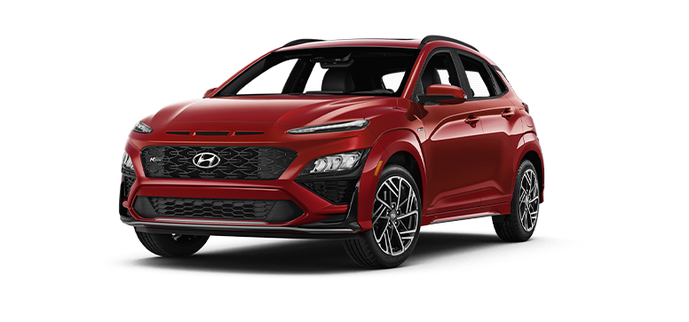 2022 Hyundai Kona N Line in the color Pulse Red