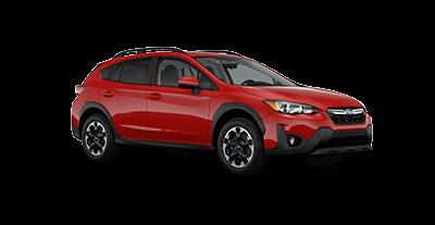 2021 Subaru Crosstrek Limited in the color Pure Red