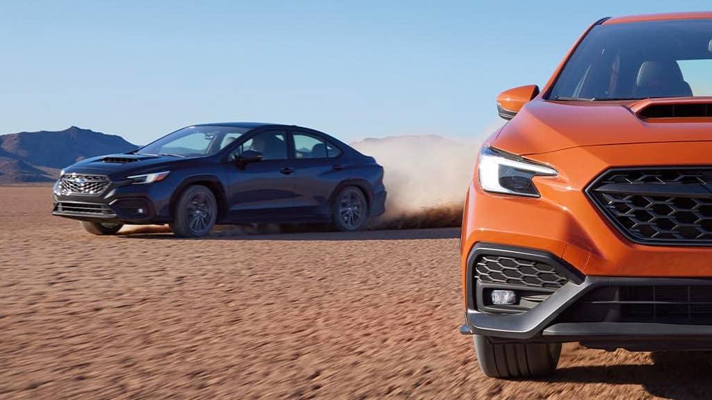 2022 Subaru WRX GT trim driving in the desert.