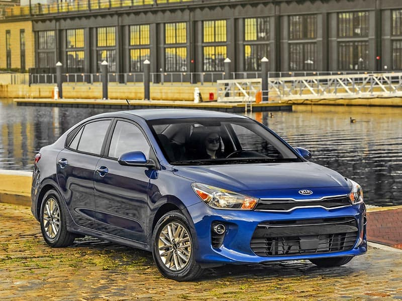 2021 Kia Rio exterior styling front grille and LED headlights